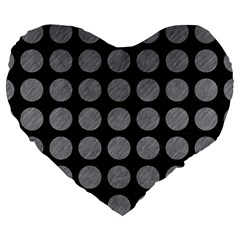 Circles1 Black Marble & Gray Colored Pencilcircle1 Black Marble & Gray Colored Pencil Large 19  Premium Heart Shape Cushions by trendistuff