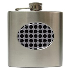 Circles1 Black Marble & Gray Colored Pencil (r) Hip Flask (6 Oz) by trendistuff