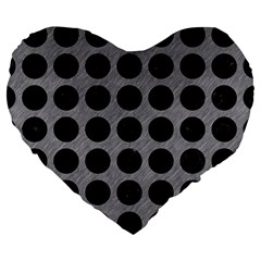 Circles1 Black Marble & Gray Colored Pencil (r) Large 19  Premium Heart Shape Cushions by trendistuff