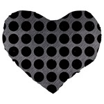 CIRCLES1 BLACK MARBLE & GRAY COLORED PENCIL (R) Large 19  Premium Heart Shape Cushions Front