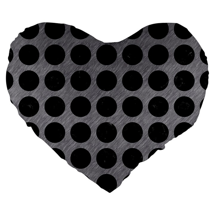 CIRCLES1 BLACK MARBLE & GRAY COLORED PENCIL (R) Large 19  Premium Heart Shape Cushions