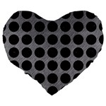 CIRCLES1 BLACK MARBLE & GRAY COLORED PENCIL (R) Large 19  Premium Heart Shape Cushions Back