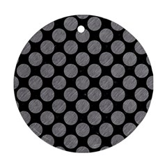 Circles2 Black Marble & Gray Colored Pencil Round Ornament (two Sides) by trendistuff