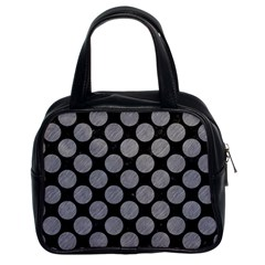 Circles2 Black Marble & Gray Colored Pencil Classic Handbags (2 Sides)