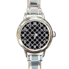 Circles2 Black Marble & Gray Colored Pencil (r) Round Italian Charm Watch by trendistuff
