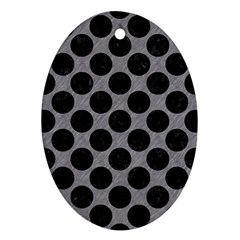 Circles2 Black Marble & Gray Colored Pencil (r) Ornament (oval)