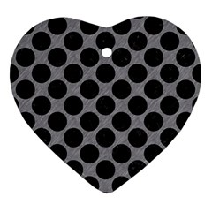 Circles2 Black Marble & Gray Colored Pencil (r) Ornament (heart)