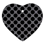 CIRCLES2 BLACK MARBLE & GRAY COLORED PENCIL (R) Ornament (Heart) Front