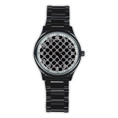 Circles2 Black Marble & Gray Colored Pencil (r) Stainless Steel Round Watch