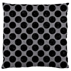 Circles2 Black Marble & Gray Colored Pencil (r) Large Flano Cushion Case (one Side) by trendistuff