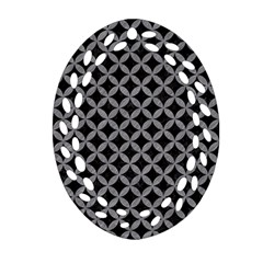 Circles3 Black Marble & Gray Colored Pencil Oval Filigree Ornament (two Sides) by trendistuff