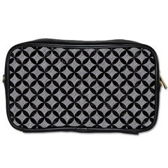 Circles3 Black Marble & Gray Colored Pencil (r) Toiletries Bags 2 Side by trendistuff