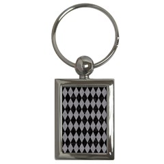 Diamond1 Black Marble & Gray Colored Pencil Key Chains (rectangle)  by trendistuff