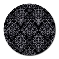 Damask1 Black Marble & Gray Colored Pencil Round Mousepads by trendistuff