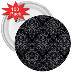 Damask1 Black Marble & Gray Colored Pencil 3  Buttons (100 Pack)