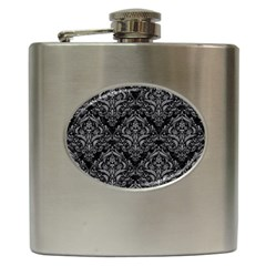 Damask1 Black Marble & Gray Colored Pencil Hip Flask (6 Oz) by trendistuff