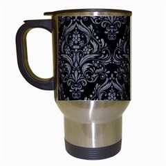 Damask1 Black Marble & Gray Colored Pencil Travel Mugs (white) by trendistuff