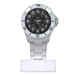 Damask1 Black Marble & Gray Colored Pencil Plastic Nurses Watch by trendistuff