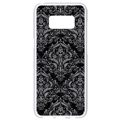 Damask1 Black Marble & Gray Colored Pencil Samsung Galaxy S8 White Seamless Case by trendistuff