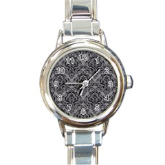 Damask1 Black Marble & Gray Colored Pencil (r) Round Italian Charm Watch by trendistuff
