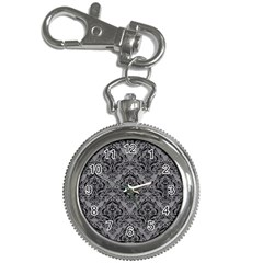 Damask1 Black Marble & Gray Colored Pencil (r) Key Chain Watches by trendistuff