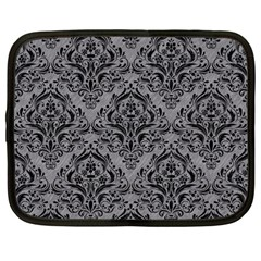 Damask1 Black Marble & Gray Colored Pencil (r) Netbook Case (large) by trendistuff
