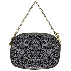 Damask2 Black Marble & Gray Colored Pencil Chain Purses (two Sides)  by trendistuff