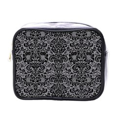 Damask2 Black Marble & Gray Colored Pencil (r) Mini Toiletries Bags by trendistuff
