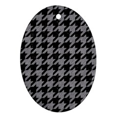 Houndstooth1 Black Marble & Gray Colored Pencil Ornament (oval)