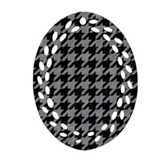 Houndstooth1 Black Marble & Gray Colored Pencil Oval Filigree Ornament (two Sides) by trendistuff