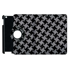 Houndstooth2 Black Marble & Gray Colored Pencil Apple Ipad 2 Flip 360 Case by trendistuff