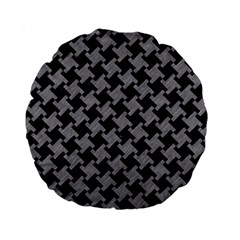 Houndstooth2 Black Marble & Gray Colored Pencil Standard 15  Premium Round Cushions by trendistuff