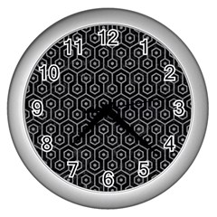 Hexagon1 Black Marble & Gray Colored Pencil Wall Clocks (silver)
