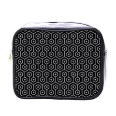 Hexagon1 Black Marble & Gray Colored Pencil Mini Toiletries Bags by trendistuff