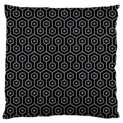 Hexagon1 Black Marble & Gray Colored Pencil Large Cushion Case (one Side) by trendistuff
