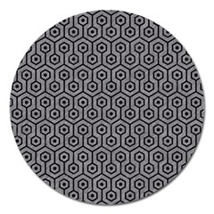 Hexagon1 Black Marble & Gray Colored Pencil (r) Magnet 5  (round) by trendistuff