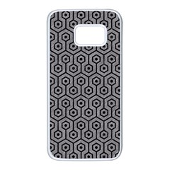Hexagon1 Black Marble & Gray Colored Pencil (r) Samsung Galaxy S7 White Seamless Case