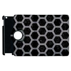 Hexagon2 Black Marble & Gray Colored Pencil Apple Ipad 3/4 Flip 360 Case by trendistuff