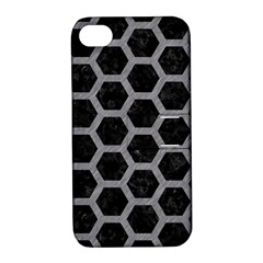 Hexagon2 Black Marble & Gray Colored Pencil Apple Iphone 4/4s Hardshell Case With Stand by trendistuff