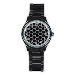 Hexagon2 Black Marble & Gray Colored Pencil Stainless Steel Round Watch by trendistuff