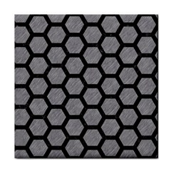 Hexagon2 Black Marble & Gray Colored Pencil (r) Tile Coasters