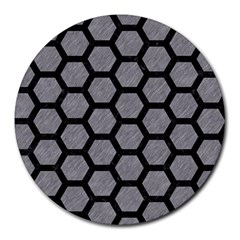 Hexagon2 Black Marble & Gray Colored Pencil (r) Round Mousepads by trendistuff