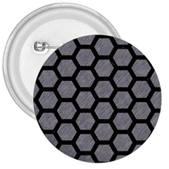Hexagon2 Black Marble & Gray Colored Pencil (r) 3  Buttons by trendistuff