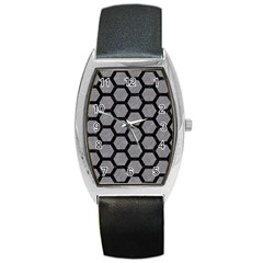 Hexagon2 Black Marble & Gray Colored Pencil (r) Barrel Style Metal Watch by trendistuff