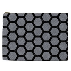 Hexagon2 Black Marble & Gray Colored Pencil (r) Cosmetic Bag (xxl)  by trendistuff
