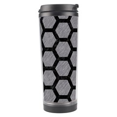 Hexagon2 Black Marble & Gray Colored Pencil (r) Travel Tumbler by trendistuff