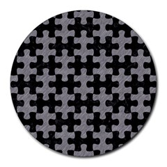 Puzzle1 Black Marble & Gray Colored Pencil Round Mousepads by trendistuff