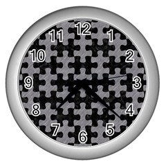 Puzzle1 Black Marble & Gray Colored Pencil Wall Clocks (silver)