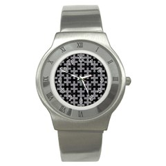 Puzzle1 Black Marble & Gray Colored Pencil Stainless Steel Watch by trendistuff