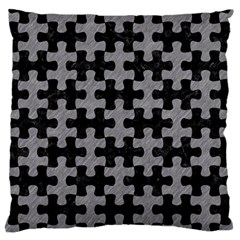 Puzzle1 Black Marble & Gray Colored Pencil Standard Flano Cushion Case (one Side) by trendistuff